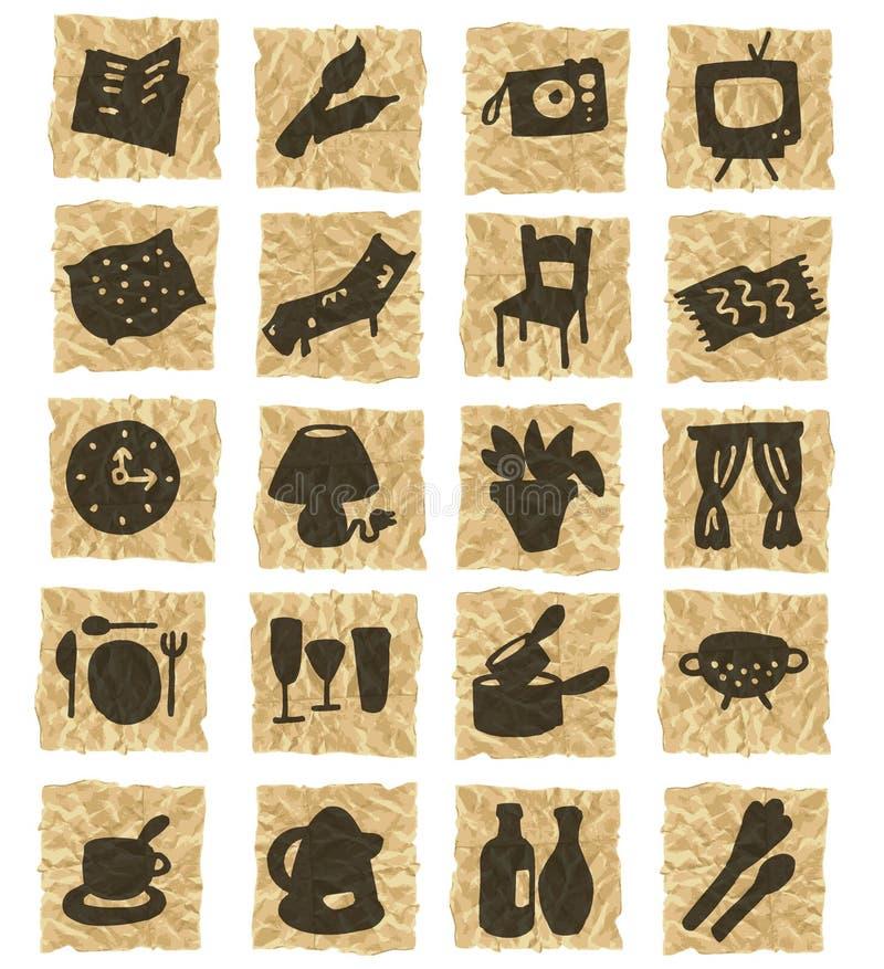 Ícones no papel amarrotado ilustração do vetor