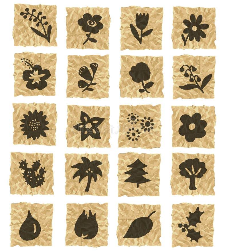 Ícones no papel amarrotado ilustração royalty free