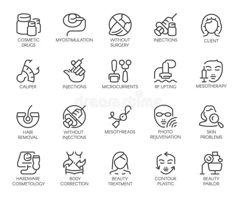 20 ícones no tema da cosmetologia isolados Terapia da beleza, medicina, cuidados médicos, symbolsc linear do tratamento do bem-es ilustração do vetor