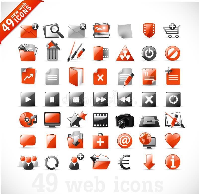 Ícones novos 2 do Web e do mutimedia - vermelho ilustração royalty free
