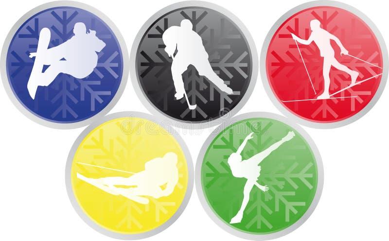 Ícones olímpicos dos esportes do inverno ilustração do vetor