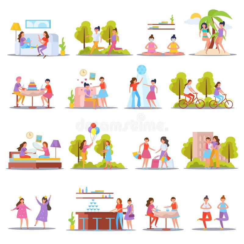Ícones ortogonais da amizade das meninas ilustração do vetor