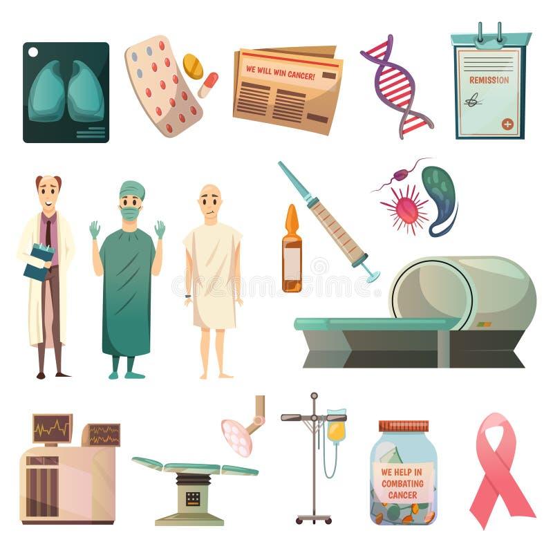 Ícones ortogonais do câncer da derrota ajustados ilustração do vetor