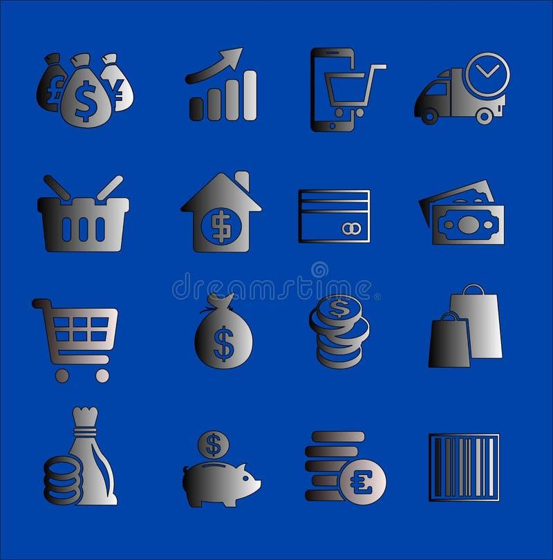 Ícones ou botões do negócio ilustração royalty free