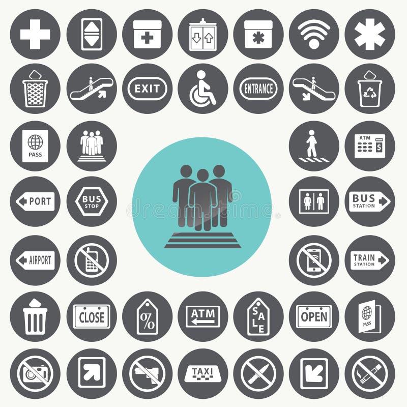 Ícones públicos ajustados ilustração do vetor