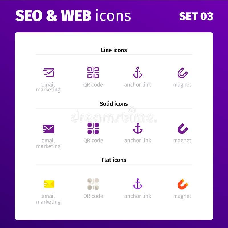 Ícones para aplicações da Web e do seo ilustração do vetor