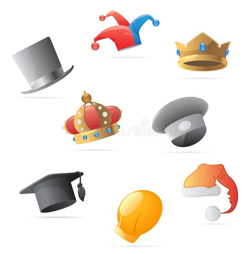 Ícones para chapéus ilustração stock