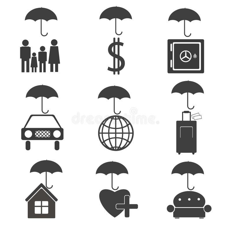 Ícones para a companhia de seguros ilustração do vetor