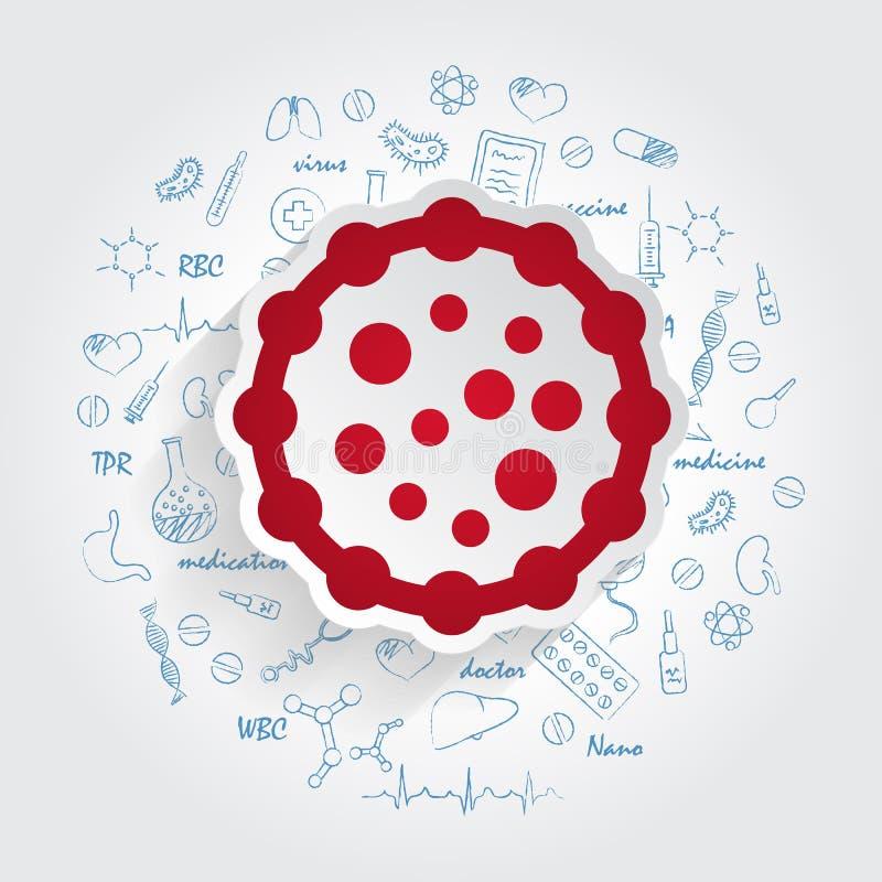 Ícones para especialidades médicas Microbiologia e conceito das bactérias dos micróbios Ilustração do vetor com medicina tirada m ilustração stock
