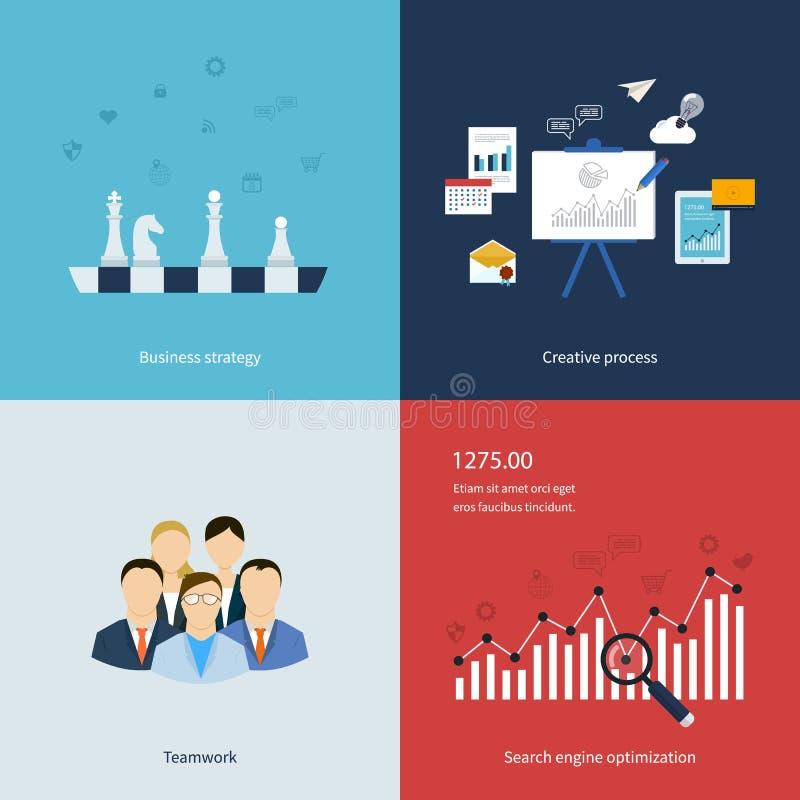 Ícones para a estratégia empresarial, trabalhos de equipa, trabalhos ilustração do vetor