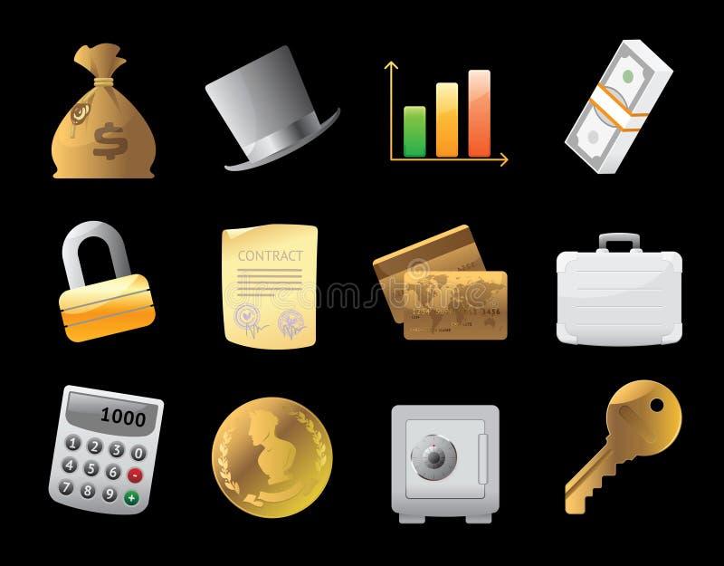 Ícones para a finança, o dinheiro e a segurança ilustração royalty free