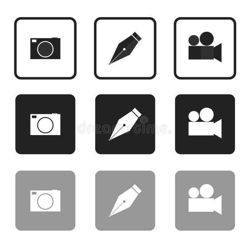 Ícones para a foto e o vídeo conservados em estoque do vetor ilustração do vetor