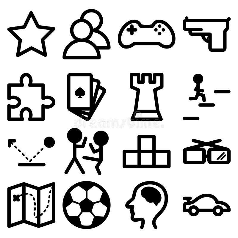Ícones para jogos do computador e do playstation ilustração royalty free