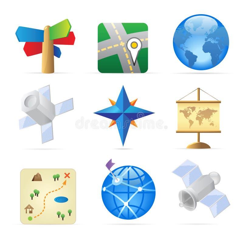 Ícones para a navegação ilustração royalty free