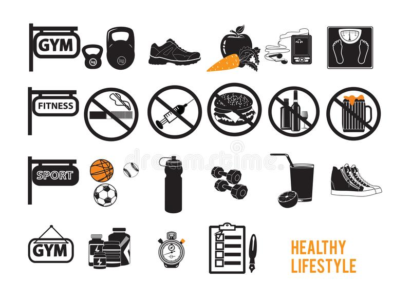 Ícones para o grupo saudável da aptidão do estilo de vida ilustração stock