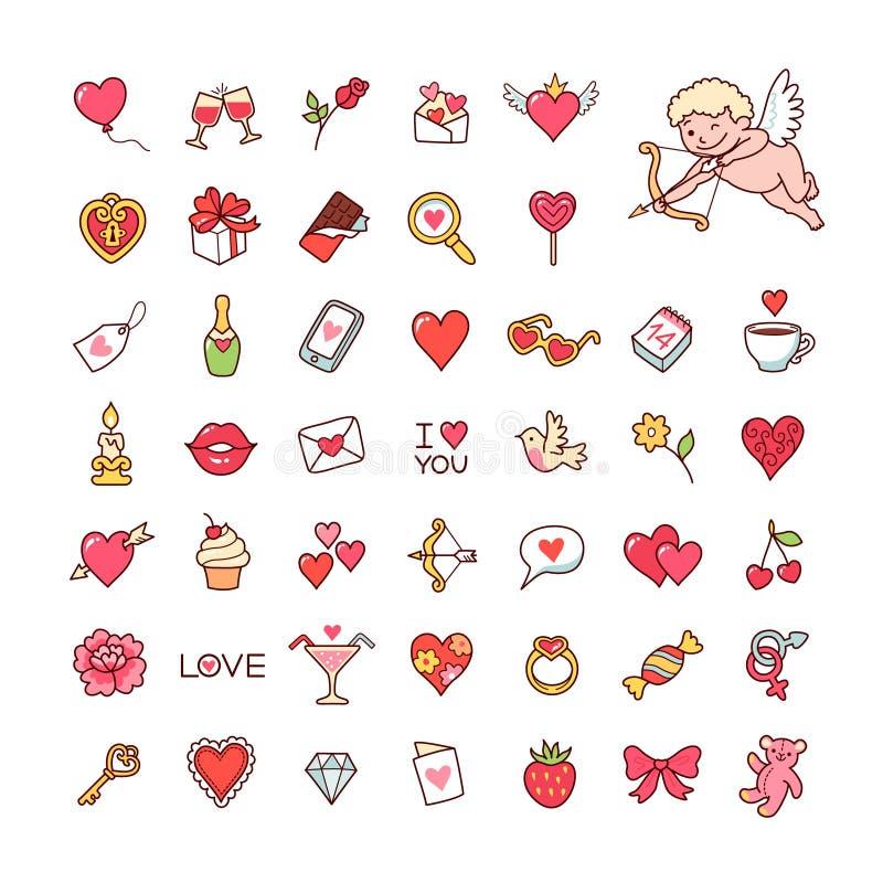 Ícones para o Valentim ilustração royalty free