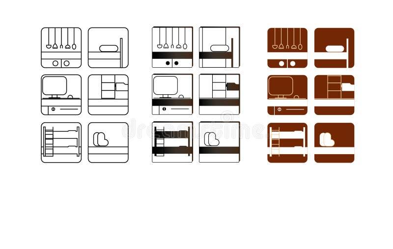Ícones para a produção da mobília foto de stock royalty free