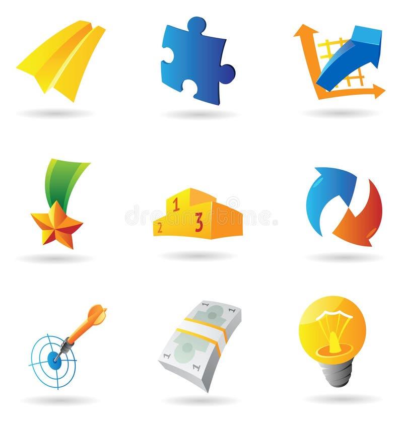 Ícones para símbolos do negócio ilustração royalty free