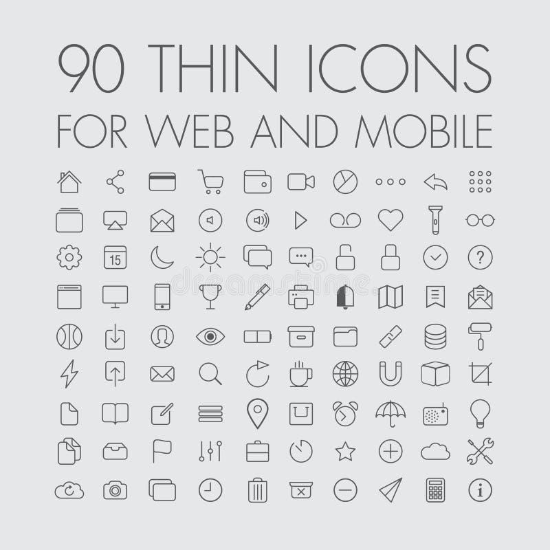 90 ícones para a Web e o móbil ilustração do vetor