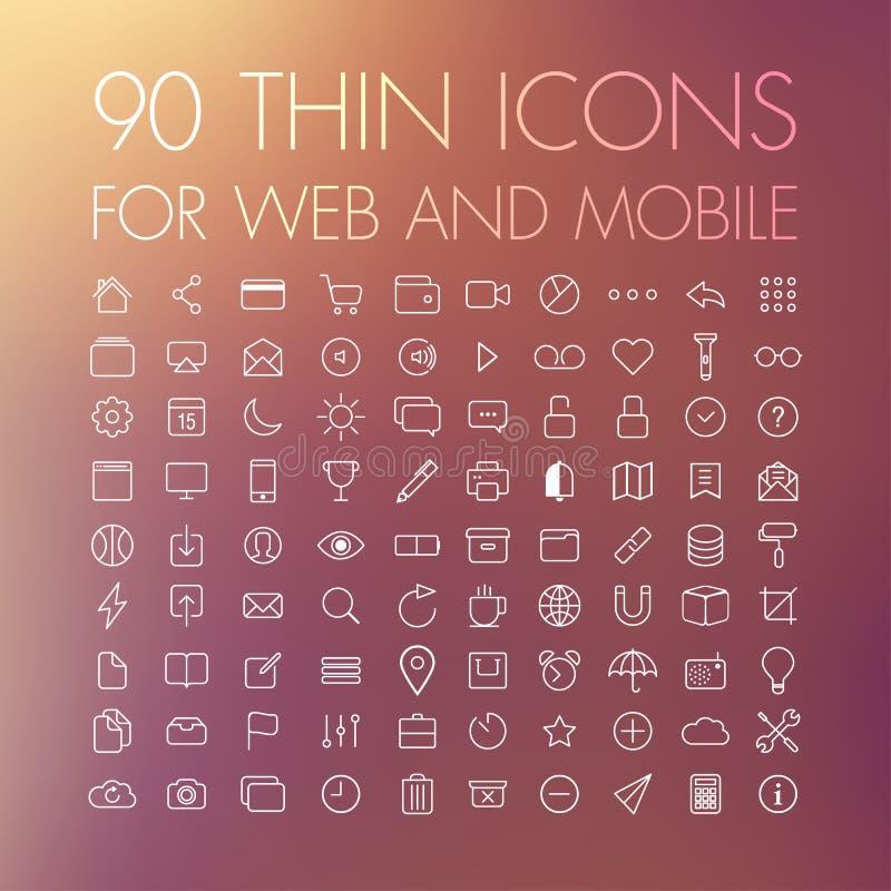 90 ícones para a Web e o móbil ilustração royalty free