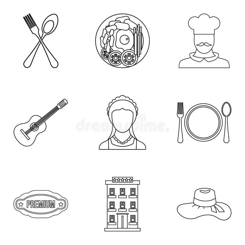 Ícones pequenos ajustados, estilo do restaurante do esboço ilustração do vetor
