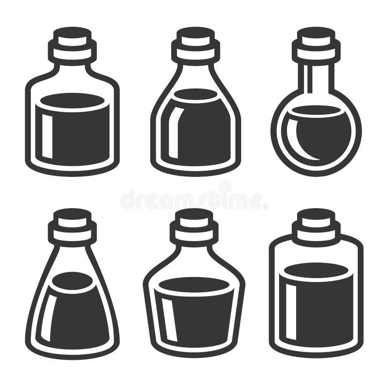 Ícones pequenos médicos ou de Parfume do frasco e das garrafas ajustados Vetor ilustração royalty free