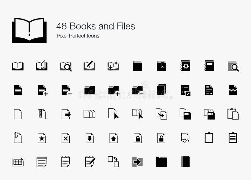 48 ícones perfeitos do pixel dos livros e dos arquivos ilustração royalty free