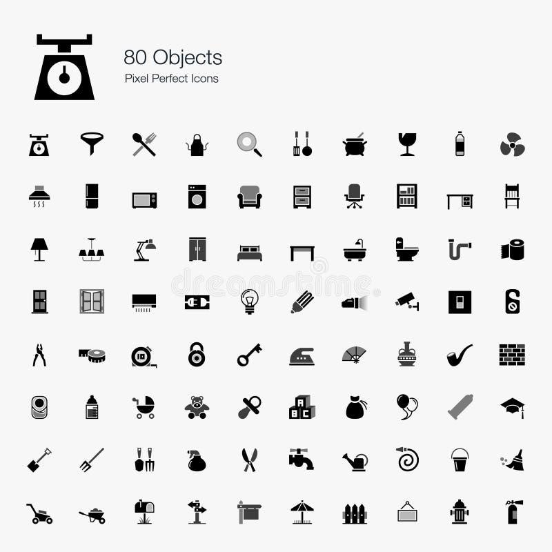 80 ícones perfeitos do pixel dos objetos ilustração royalty free