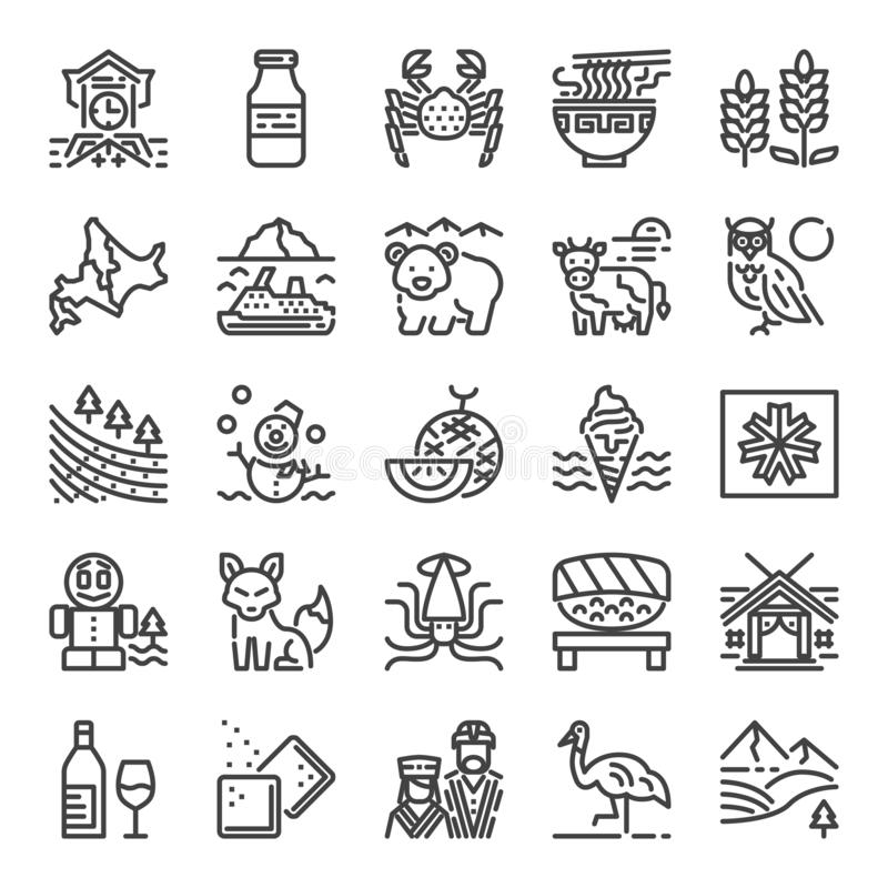 Ícones perfeitos do pixel do Hokkaido ilustração do vetor