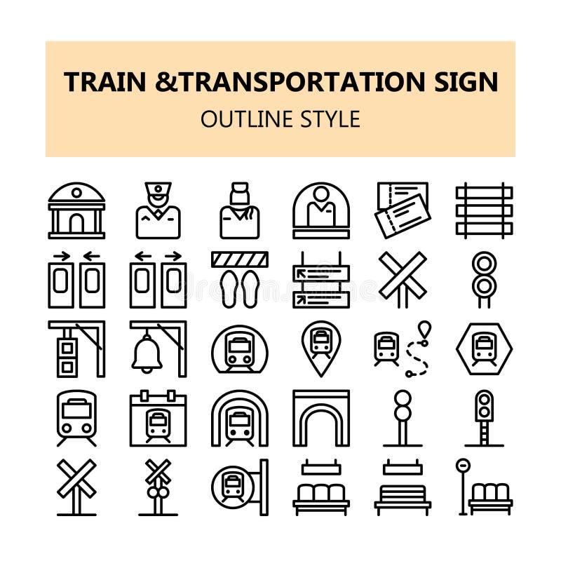 Ícones perfeitos do pixel do sinal do transporte do trem ajustados no estilo do esboço ilustração do vetor
