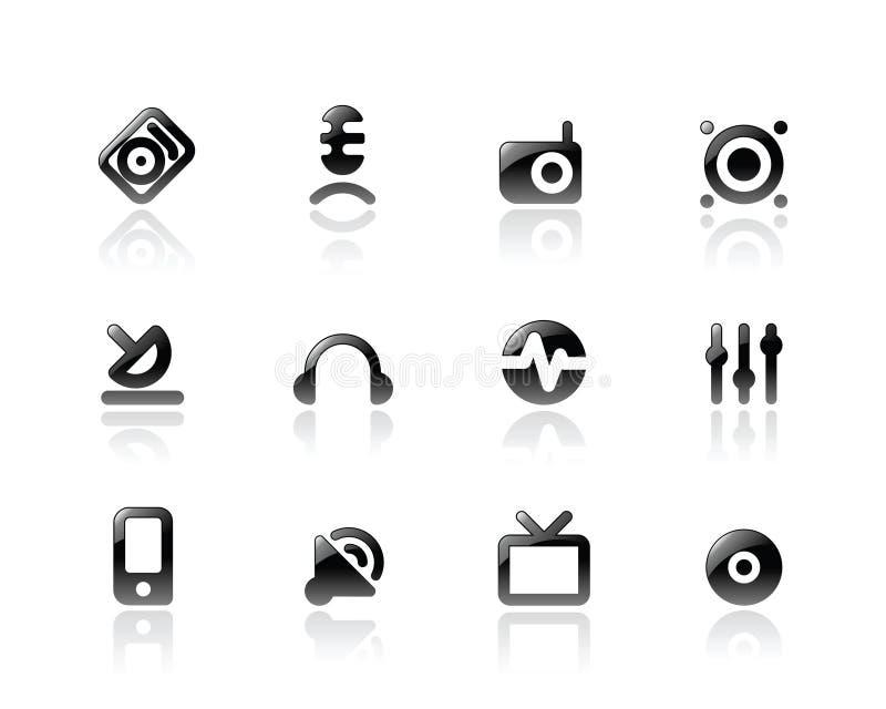 Ícones perfeitos para media e som ilustração stock