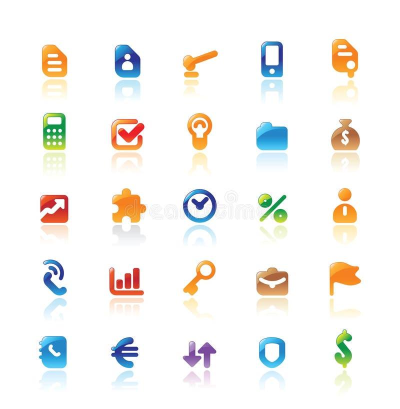Ícones perfeitos para a metáfora do negócio ilustração stock