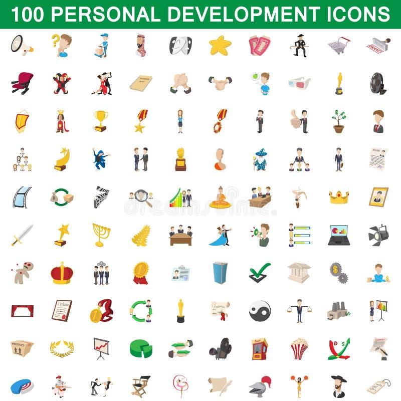 100 ícones pessoais ajustados, estilo do desenvolvimento dos desenhos animados ilustração royalty free