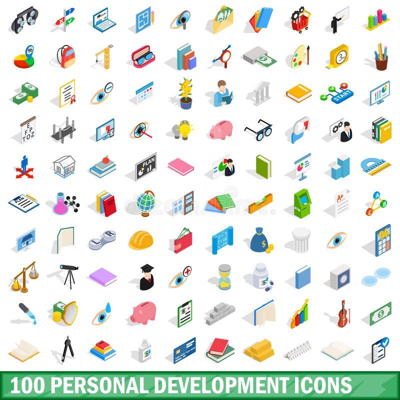 100 ícones pessoais do desenvolvimento ajustados ilustração royalty free