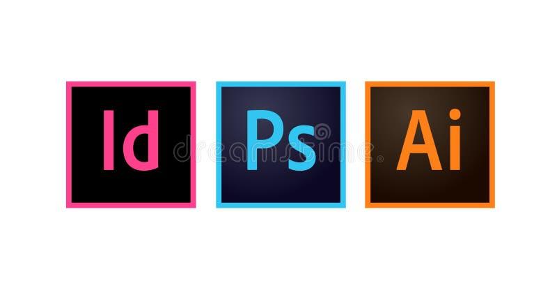 Ícones Photoshop de Adobe, ilustrador e vetor editorial de Indesign ilustração do vetor