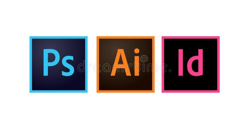 Ícones Photoshop de Adobe, ilustrador e vetor editorial de Indesign ilustração stock