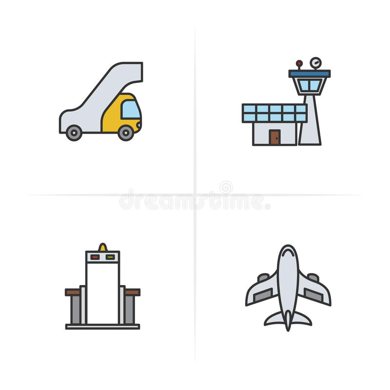 Ícones piloto da cor ajustados Escada dos passageiros, torre de controlo do voo, porta do varredor do metal, símbolo dos aviões C ilustração do vetor