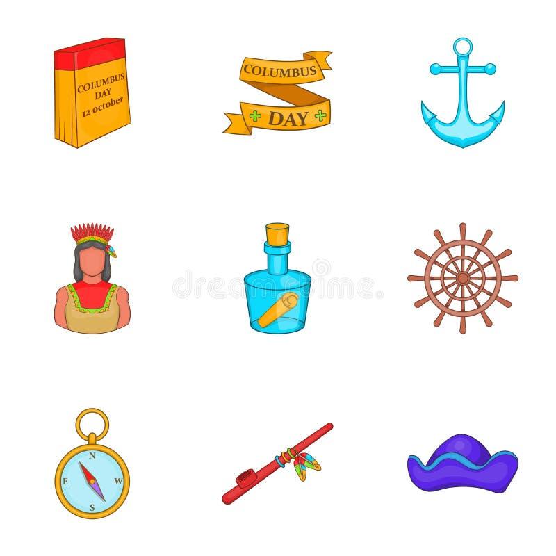 Download Ícones Pioneiros Ajustados, Estilo Dos Desenhos Animados Ilustração do Vetor - Ilustração de letra, américa: 80101330
