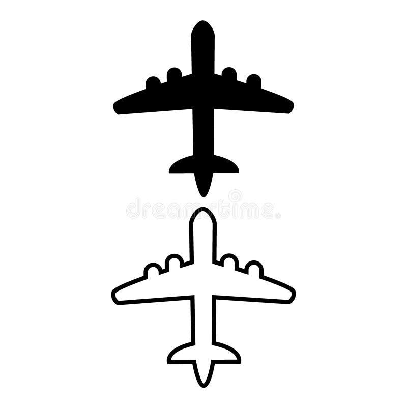 Ícones planos ajustados no fundo branco, ilustração do vetor do avião imagem de stock royalty free