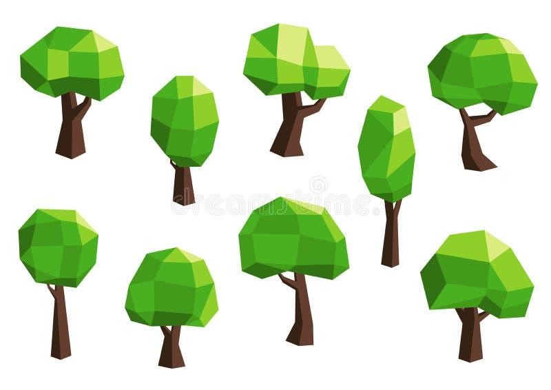 Ícones poligonais abstratos verdes da árvore ilustração stock