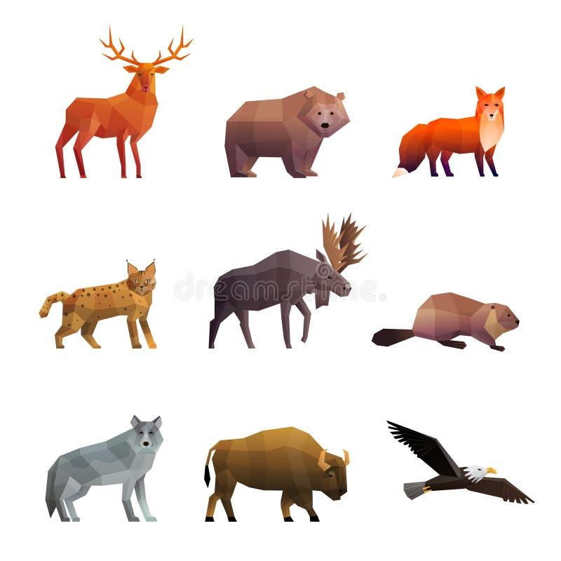 Ícones poligonais do norte dos animais selvagens ajustados ilustração royalty free