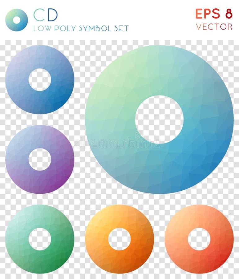 Ícones poligonais geométricos do CD ilustração do vetor