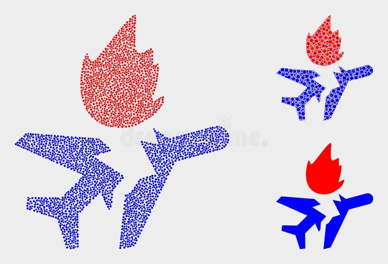 Ícones pontilhados do impacto de avião do vetor ilustração royalty free