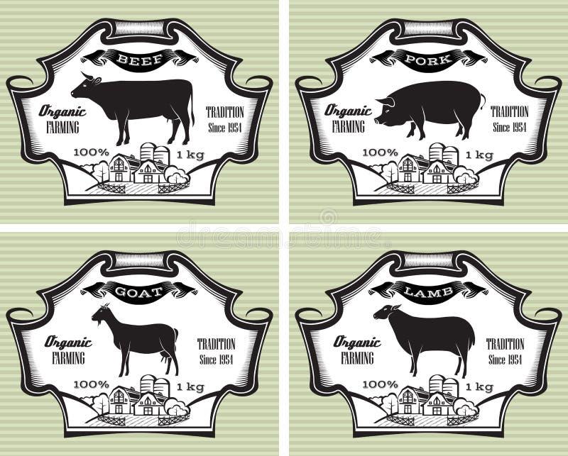 Ícones porco, vaca, carneiro, cabra
