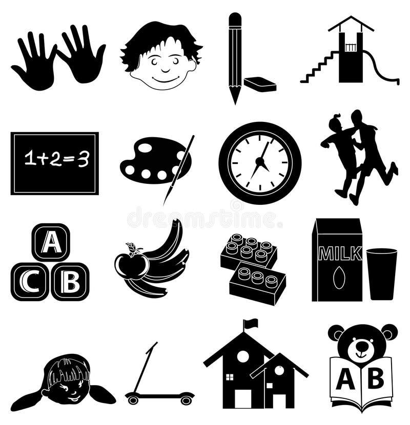Ícones prées-escolar ajustados ilustração stock