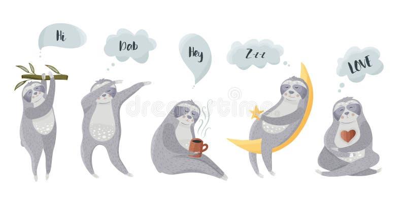 Ícones preguiçosos diferentes do urso ilustração stock