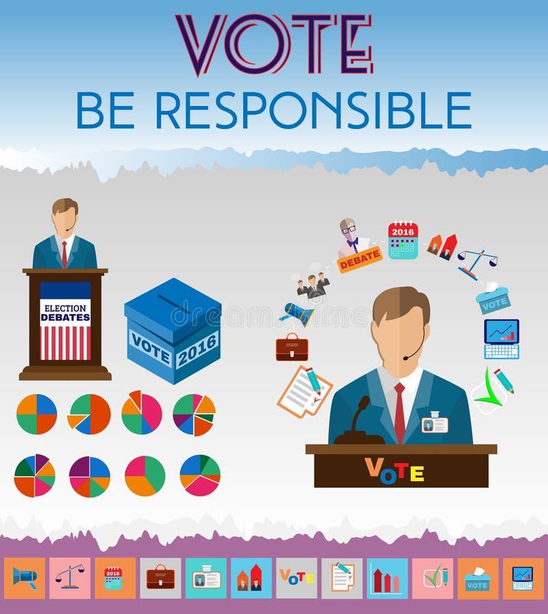 Ícones presidenciais dos debates ilustração stock