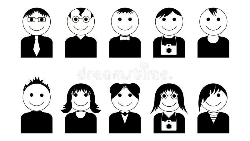 Ícones preto-brancos dos caráteres do vetor ajustados Ícones simples do avatar ajustados ilustração stock