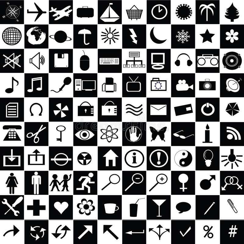 Ícones preto e branco ilustração stock