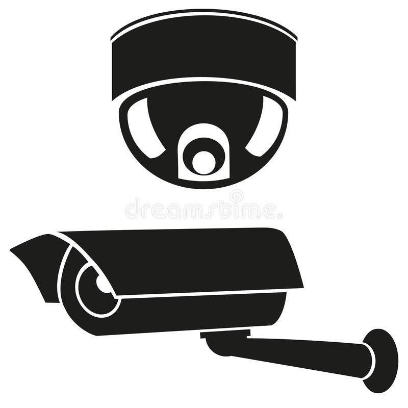 Ícones preto e branco das câmaras de vigilância ilustração royalty free